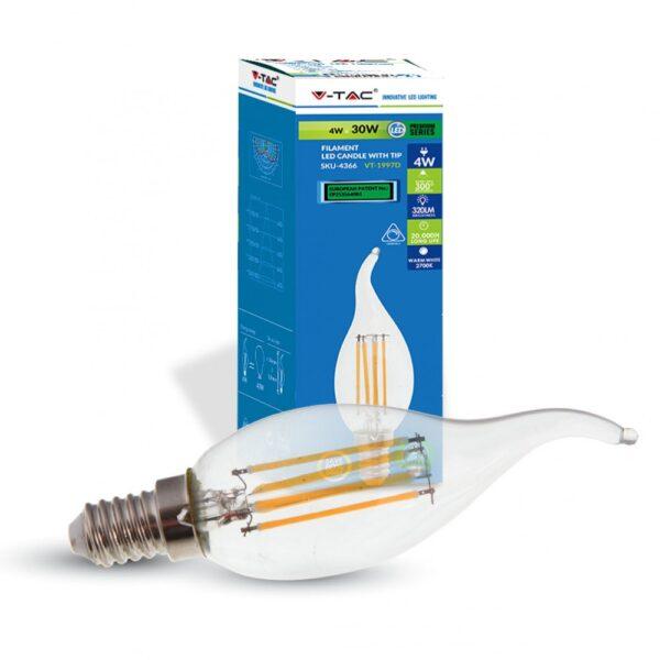 Bombilla LED E14 4w 320Lm Filamento Flama Regulable - Andalucia Led SL
