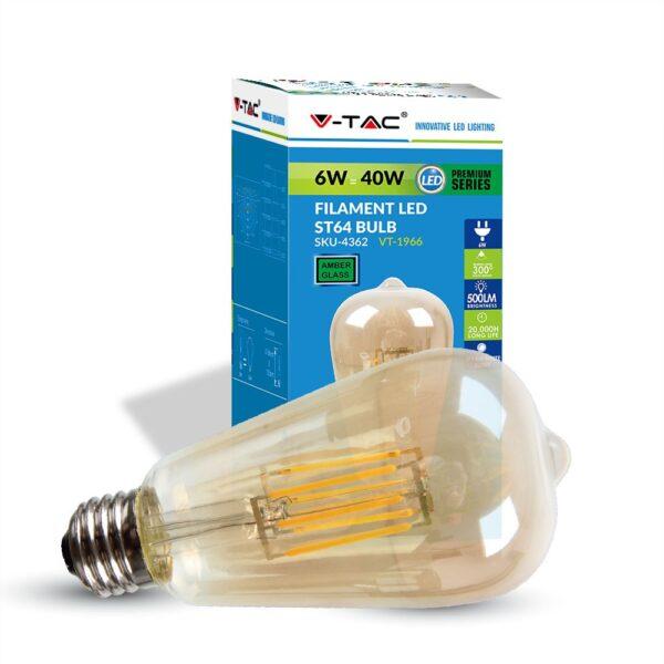 Bombilla LED E27 6w Filamento ST64 VINTAGE - Andalucia Led SL